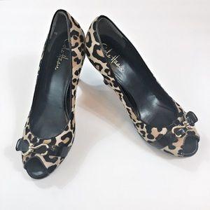 Cole Haan Leopard Print Peep Toe Heels Size 8